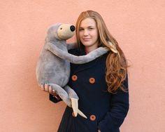 XXL Grey Sloth stuffed animal toy for children by andreavida, €49.00