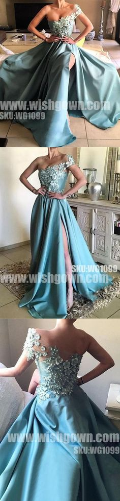 Popular One Shoulder Side Split Elegant Cheap Long Prom Dresses, WG1099 #promdress #promdresses #longpromdress #longpromdresses #eveningdress