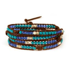 Sterling Silver Jewelry - Chen Rai Turquoise and Crystal Mix Wrap Bracelet