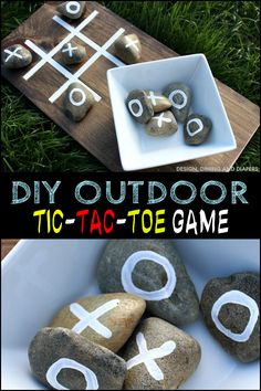 Add entertainment to your outdoor area by making your own Tic-Tac-Toe game!