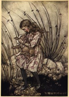"""It grunted again, so violently, that she looked down into its face in some alarm."" Alice's Adventures in Wonderland by Lewis Carroll, illustrated by Arthur Rackham. London: Heinemann, 1933."