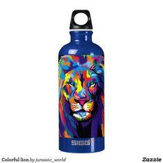 Colorful lion aluminum water bottle