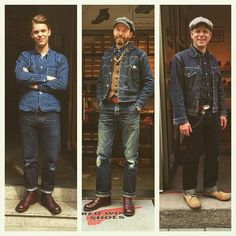 Time for some good company and conversations. Come visit Mick, Markus, and Simon in our stores in Berlin, Hamburg, and Munich. Denim Boots, Denim Jeans Men, Denim Outfit, Style Masculin, Red Wing Boots, Retro Mode, Rugged Style, Herren Outfit, Raw Denim