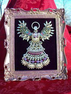 Vintage Gold Rhinestone Jewelry Christmas Tree Framed Angel Art