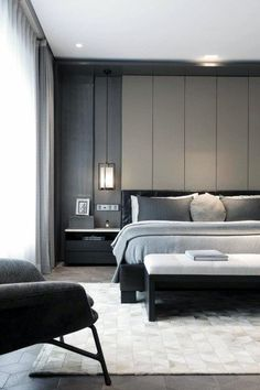 15 Elegant Minimalist Bedroom Decoration Ideas To Make It Comfortable Sleep Luxurious Bedroom Minimalis Design Modern Bedroom Design, Master Bedroom Design, Contemporary Bedroom, Bed Design, Home Bedroom, Master Suite, Design Case, Bedroom Decor, Bedroom Rugs