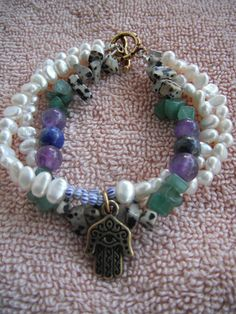 agates, amythist,soap stone and fresh water pearl with Hamsa