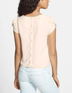 Cute for spring! Back Button Crochet Trim Tee.