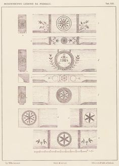 "Motif of a rozeta (rosette), also called kwiat życia (flower of life), is a protective symbol commonly used in Polish folk architecture and woodwork. Examples above show carvings decorating beams inside cottages in the region of Podhale (southern Poland). Source: Władysław Matlakowski ""Budownictwo ludowe na Podhalu"", 1892."