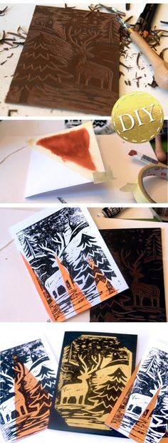 Christmas cards homemade with linoleum print! Copper, gold and silver provide … - Kunstunterricht Projects For Kids, Diy For Kids, Xmas 2015, Homemade Christmas Cards, Xmas Presents, Kids Prints, Creative Kids, Art Lessons, Crafts