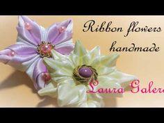 Цветы из лент/ Kanzashi flower tutorial/ Wedding hair accessoire/ Ola ameS DIY - YouTube