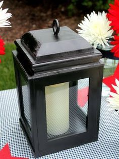 Four frames glued together, and a fancy top made with scrap wood. Fill with battery-powered candle.