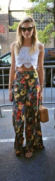 Crop Top n Wide Floral Trousers