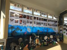 Say No to Single Use Plastic - Plastic Free July art installation displayed at Manly Sea-Life
