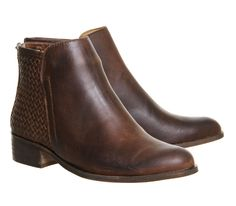 Office Freida Woven Back Soft Point Flat Brown Leather - Ankle Boots