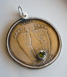 "This Is HUGE..2"" x 2"" Mommy Medallion Sterling Silver Baby Foot Prints"