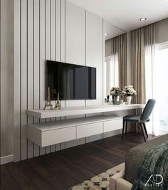 48 Cool Bedroom Tv Wall Design Ideas - Because the average person sleeps around hours each day, we have to pay attention to bedroom decoration. It has been said and proven that you can . Bedroom Tv Unit Design, Tv Unit Bedroom, Bedroom Tv Wall, Luxury Bedroom Design, Tv Wall Design, Interior Design, Master Bedroom, Bedroom With Tv, Tv Cabinet Design Modern