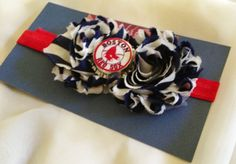 BOSTON RED SOX Shabby Chic Infant/Childrens Headband: Blue & White Shabby Chic flowers-Red Elastic headband Infant, Girl
