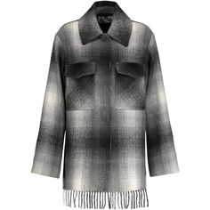 T by Alexander Wang - Fringed Checked Flannel Coat (3.556.350 IDR) ❤ liked on Polyvore featuring outerwear, coats, grey, gray coats, a line coat, checked coat, fringe coat and t by alexander wang