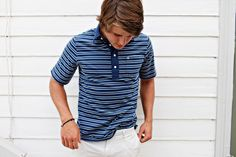 Organic Shirts from Criquet - Thin Striped Players Shirt in Blue