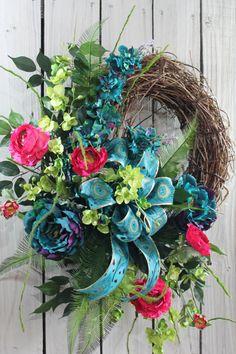 Large Elegant Year Round Summer Grapevine Door Wreath Teal Red Cream Floral Wedding Decor Peacock Ribbon Wreath