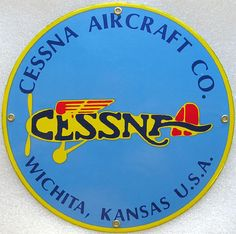 Cessna Aircraft Company Plane Airplane Vintage Aviation Porcelain Metal Sign