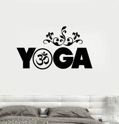 Vinyl Wall Decal Yoga Studio Meditation Buddhism Sanskrit Stickers Mural (ig3242)
