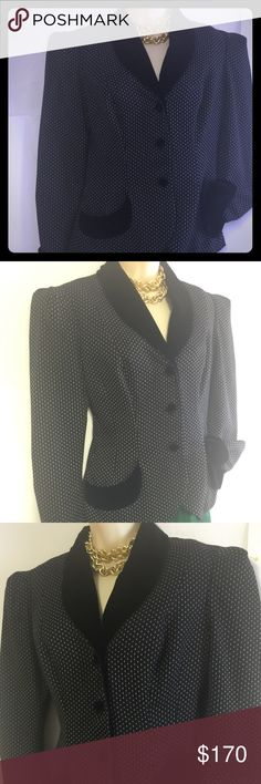 "Vintage rare Norma Kamali velvet structured 8 Beautiful perfect condition Vintage 70's 80's Norma Kamali wool Polka dot fabric with soft velvet details . Fully lined. 3 buttons , size 8 . Unique item. Bust back side 18"" shoulders 16"" length from shoulders 25"" Norma Kamali Jackets & Coats Blazers"