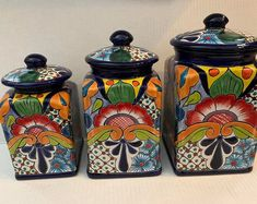 Excited to share the latest addition to my shop Canister set of 3 colbolt blue multicolor handmade cafted beautiful Mexican Style Decor, Mexican Style Kitchens, Mexican Kitchen Decor, Kitchen Themes, Farmhouse Kitchen Decor, Kitchen Colors, Fiesta Kitchen, Southwest Kitchen, Kitchen Canister Sets