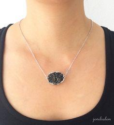 Black Druzy Necklace Silver Onyx Black Geode Rustic Drusy Gemstone Layering Long Mineral Modern Statement Natural Quartz Crystal Stone C1