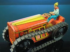Marx Vintage Climbing Tractor Tin Litho Wind Up...i think i got this from grma down the store for Christmas