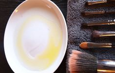 To clean makeup brush: Half olive oil, half dishwasher soap. Your brushes have never been so clean!