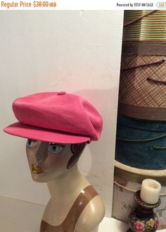 20% OFF SALE Vintage Kangol Blue Pink Newsboy Cabbie Driving Cap Hat