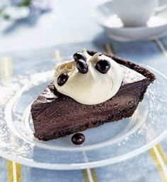 All kinds of food and drink recipes: Triple-Chocolate Pudding Pie with Cappuccino Cream