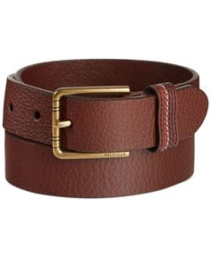This belt from Tommy Hilfiger has a textured finish and contrast stitching at its loop keeper. Leather Buckle, Leather Belts, Fashion Belts, Mens Fashion, Brown Belt, Tommy Hilfiger, Handmade Leather, Bags, Clothes