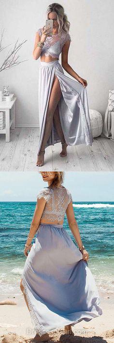 Sheath/Column Scoop Neck Lace Chiffon Ankle-length Split Front Two Piece Prom Dress