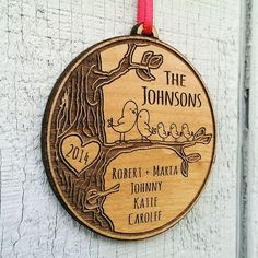 Items similar to Personalized Family Christmas Ornament Gift Christmas Ornament Personalized Names Date Tree Trunk Love Birds Custom Engraved Wood Holiday on Etsy Wood Burning Crafts, Wood Burning Patterns, Wood Crafts, Ornaments Design, Wood Ornaments, Family Christmas Ornaments, Christmas Projects, Custom Engraving, Christmas Crafts