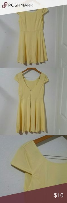 Ally Cap Sleeve Dress with Low Cut Back Custard yellow cap sleeve dress with a low cut back. Back zipper with hook and eye closure. Length is 30.5 inches measured from the front of the dress to the hem. Bodice is lined, skirt is unlined but fabric is pretty opaque.   60% polyester, 35% cotton, 5% elastane. The dress is stretchy and comfortable. Fabric is soft. A-line skirt, giving it a little swish.   No rips or tears, or funny smells. Some spotting, as shown in photo 4. Smoke free home…