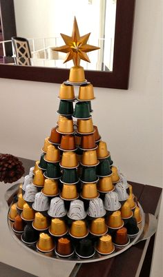 Nespresso Capsules Christmas tree! Possibility for coffee bar when entertaining...