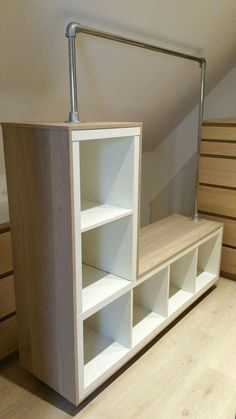 How often do you come to IKEA? After seeing these 11 IKEA hacks for the Kallax greenhouse … - Modern Ikea Hack Bookcase, Ikea Hack Storage, Attic Storage, Wall Storage, Hidden Storage, Bookshelves Ikea, Kallax Hack, Garage Storage, Wood Shelves