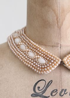 Vintage 1950s Faceted Pearl Beaded Sweater Collar