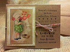 "Valentine Card - Vintage, Stamped, Rustic  - Little Girl Bonnet and Dress - ""St. Valentine's Offering"""