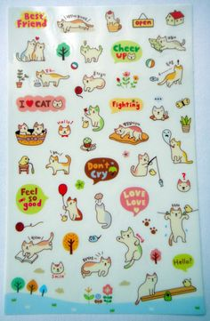 Cute Kitten Cat Plastic Stickers From Korea - House, Cup, Cherry, Tree, Wool, Flowers, Plant, Fish, Pillow, Cupcake, Bird, Mouse, Laundry