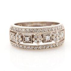 e4492341136 14K White Gold Diamond Ring Simple Jewelry, Fine Jewelry, Broche, All That  Glitters