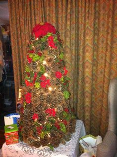 4foot pine cone tree with chicken wire base