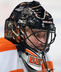 837dd2243 Flyers  Ilya Bryzgalov during warmups on February with his star wars mask.  (Photo by Len Redkoles NHLI)