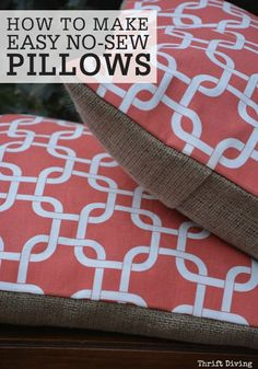 Liven up your couch with these easy, no-sew pillows. This is a great way to refresh the look of your sofa by creating a colorful, patterned, and burlap cover!