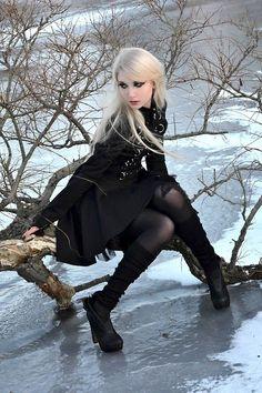 Maria Amanda | all black goth d-ring top + skater mini skirt + leg warmers | fall winter style