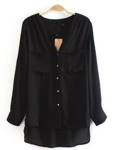 Black Long Sleeve Pockets Dipped Hem Blouse US$24.26