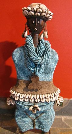 """Turquoise Beaded Doll - Namji Fertility Doll from Cameroon......19""""Hx8""""Wx4""""D"""