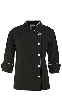 Women's Raglan 3/4 Sleeve Chef Coat - Contrast Trim $35.99 http://www.chefuniforms.com/chef-coats/womens-chef-coats/womens-raglan-sleeve-coat.asp?frmcolor=blwhi